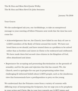 Gay Anglicans and the Primates' Meeting
