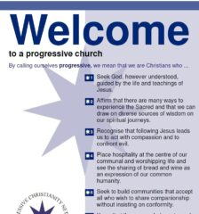 """Welcome to a progressive church"" poster"